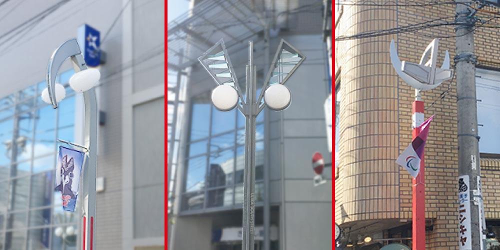 祖師谷大蔵にはウルトラマンをモチーフにした街灯があります